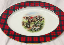 "THORNBERRY'S USA MAXWELL PLAID 14 1/4"" OVAL PLATTER HUNTING SCENE HORSES DOGS"