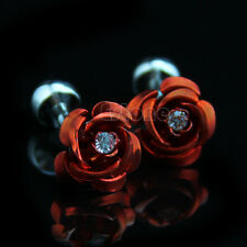 Men Red Crystal Rose Flower Cufflinks Wedding Party Gift Dress Shirt Cuff Links