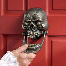 Skull Jaw Knocker Snaggle Toothed Iron Door Knocker Halloween Gothic - Large