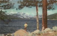 Truckee CA~Two Talk by Rocks on Shore of Donner Lake~1940 Union '76 Postcard