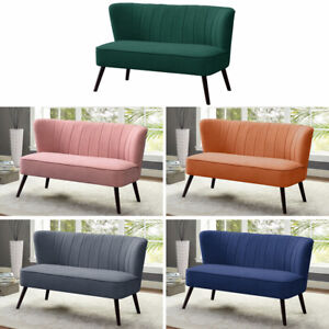 Occasional Matte Velvet Shell Back 2 Seater Sofa Small Couch Cushioned Loveseat