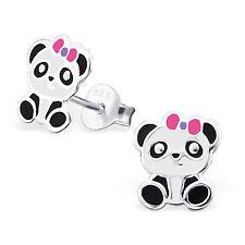 925 Sterling Silver cute Panda ear stud Earrings cute boxed childrens gift