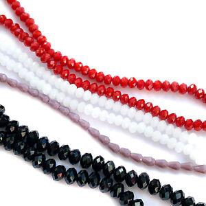 Glasschliffperlen Kristallperlen facettiert Mix rot schwarz weiß lila Mischung