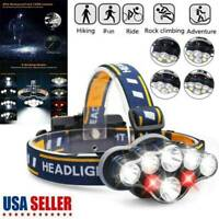 USA COB LED Headlamp USB Rechargeable Headlight 8 Lighting Modes Head Lamp