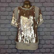 PATRIZIA PEPE uk 12 eu 44 matte gold sequin designer top rrp £ 230