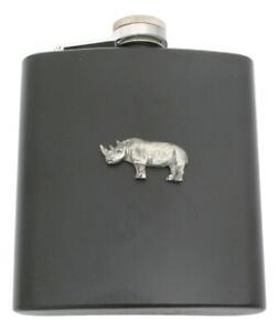 Rhino Matte Black Stainless Steel Hip Flask Personalised 297