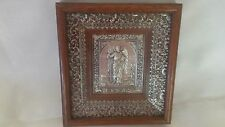 GRECIAN ICON OF SAINT JOHN THE BAPTIST STERLING SILVER AND WOOD