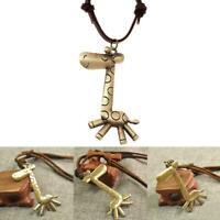 Bohemian Vintage Giraffe Wood Pendant Long Black Cord Necklace Wom Jewelry C9A5