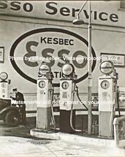 Old Antique Vintage Esso Gas Gasoline Pump Service Station Sign Photo Picture