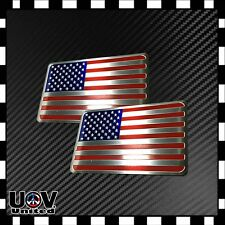 Usa America United States Flag Aluminium Tuned by Side Rear Badge Emblem Sticker (Fits: 2005 3)