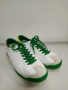 ADIDAS leather trainers UK8 EU42, white and green used in vgc