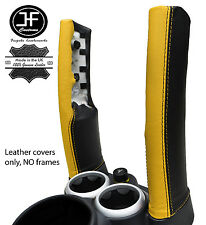 BLACK & YELLOW LEATHER 2X DOWN TUBES COVERS FITS BMW MINI COPPER S R50 R53 01-06