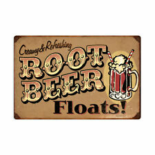 Vintage Style Metal Sign Retro Kitchen Pub Root Beer Floats 24 x 16