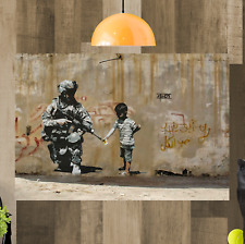 Banksy War Palestine Canvas Art Picture Huge A1 Size 32 X 22 New