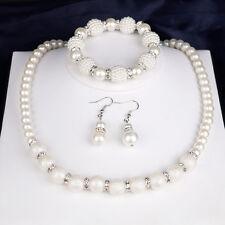 EG _ Damen Scrub Kunstperle Perlen Halskette Armband Ohrringe Schmuck-Set Preci