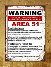Vintage retro style Area 51 warning funny metal sign tin wall door plaque