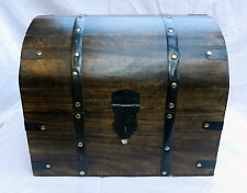 Large Chunky Solid Locking Wood / Wooden Pirate Chest / Storage Box / Trunk