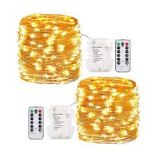 2x 10M 100LED Lichterkette Drahtlichterkette mit Fernbedienung Batterie warmweiß