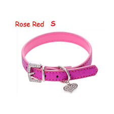 Crystal Buckle Adjustable Pet Dog Collar Heart Pendant Bling Leather Neck Strap Rose Red S