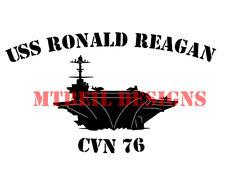 USS RONALD REAGAN CVN-76 VINYL EXTERIOR WINDOW STICKER (WHITE) #40108
