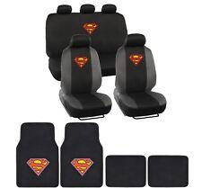 Superman Car Seat Covers Original Logo w/ Matching Carpet Floor Mats 15 pc