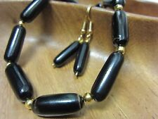 Earrings Vintage Hawaii Black Coral Beads Branch Hawaiian Treasures
