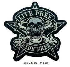 Live Free Ride Free Embroidered Iron Sew On Patch Motorcycle Jacket Black Badge