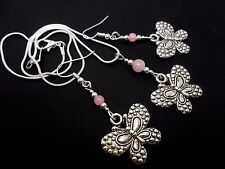 A TIBETAN SILVER BUTTERFLY & PINK JADE BEAD NECKLACE AND EARRING SET. NEW.