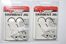 2 packs vmc bass pike swimbait jig 1/2oz white flarehead w/ keeper sbj12-w