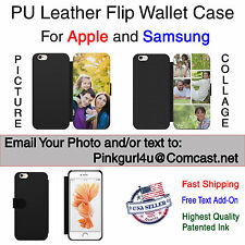 Leather Wallet Customized Personal Picture Phone Case Cover For iPhone Samsung