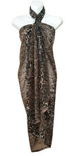 Brown Leopard Animal Print Sarong Pareo Big Scarf Wrap Swimsuit Beach Cover 82