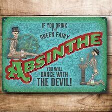 Assenzio bere la Fatina Verde DANZA DEL DIAVOLO PUB BAR Piccolo Metallo Acciaio Muro Firmare