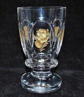 Fußbecher Pokal Bleikristall, Blumen in Glasschnitt, Gold