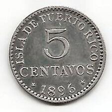 Alfonso XIII 5 Centavos 1896 Puerto Rico @ EXCELENTE @