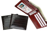 Eel Skin Leather Men's Bifold Slim Wallet ID Card Window Thin Front Pocket
