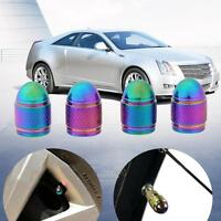 4pcs Rainbow Color Bullet Shaped Car Wheel Tyre Valve Stem Caps Dust Covers