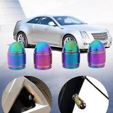 Universal 4 X Rainbow Color Bullet Shaped Wheel Tyre Valve Stem Caps Dust Covers