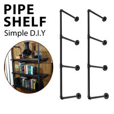 4 Tier Industrial Wall Mounted Iron Pipe Shelf Bracket DIY Holder Floating Shelf