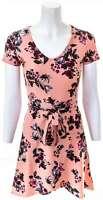 PINK ROSE Blush & Black Floral Wrap Dress