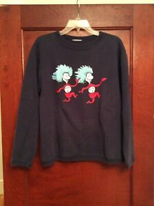 VINTAGE  90s DR SUESS THING 1 THING 2 NAVY BLUE CREW NECK SWEATSHIRT