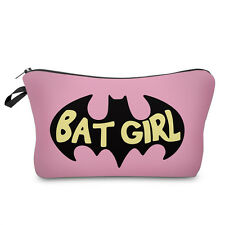 BAT GIRL MAKE UP BAG / Gift Idea Cosmetics Travel / Pencil Case Super Hero Pink