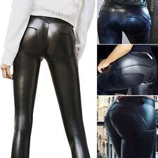 Womens Fleece PU Leather Leggings High Waist Skinny Stretch Trousers Pants UK