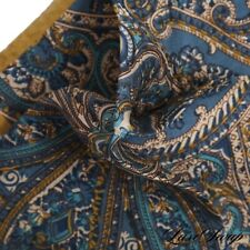 NWOT Made in Italy 100% Silk Khaki Pea Green Blue Sketch Paisley Pocket Square