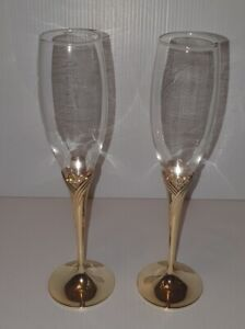 Wedding Crystal Champagne Glasses 2Pcs/Set  Gold Metal Stand Flutes Wine Glasses