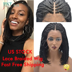 BOB Braided Lace Front Glueless Micro Braid Wigs with Baby Hair for Black Women