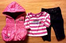 Girl's Size 3-6 M Months 3 Pc Coogi Pink Puffer Hooded Vest, Striped Top & Jeans