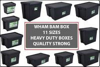 WHAM BHAM HEAVY DUTY BLACK PLASTIC STORAGE BOXES - SUPER STRONG RECYCLED BOXES