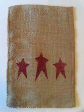 "Natural Burlap Bag Sack RED STARS Design 12"" by 8"" Craft Supply Patriotic"