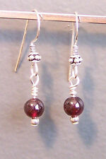 Canadian Made Sterling Silver Dangle Earrings with Garnet Bead (#16.05)