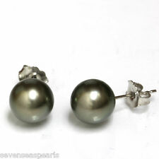 Tahitian South Sea Pearl Stud Earrings 8.5 MM Green 14k White Gold